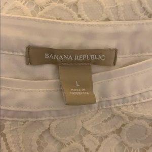 Banana Republic floral lace white blouse Large